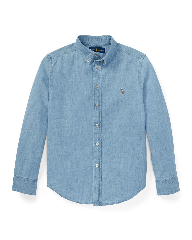 Ralph Lauren Childrenswear Kids' Woven Chambray Shirt In Light Blue