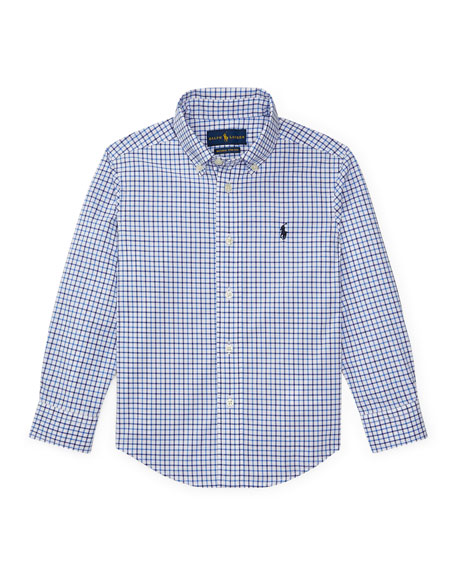 Ralph Lauren Childrenswear Poplin Woven Tattersall Sport Shirt, Size 2-3