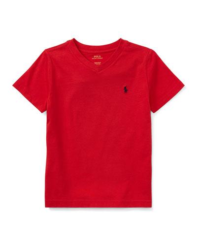 Short-Sleeve Jersey V-Neck T-Shirt, Size 2-3