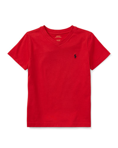 Short-Sleeve Jersey V-Neck T-Shirt, Size 4-7