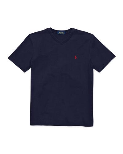 Short-Sleeve Jersey V-Neck T-Shirt, Size 4-7