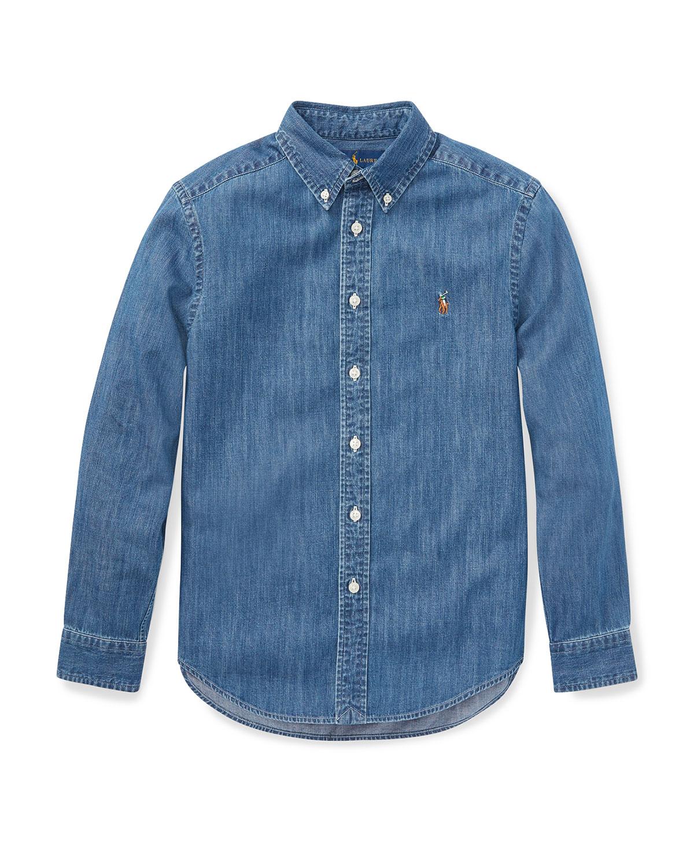 Ralph Lauren Childrenswear Kids' Woven Chambray Shirt In Dark Blue