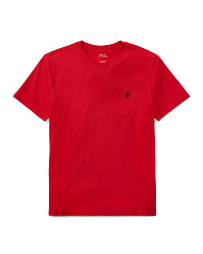 Short-Sleeve Jersey V-Neck T-Shirt, Size S-XL