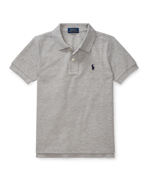 Ralph Lauren Childrenswear Kids' Short-sleeve Logo Embroidery Polo Shirt In Gray