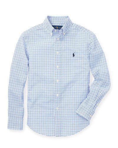 Poplin Woven Tattersall Sport Shirt, Size S-XL