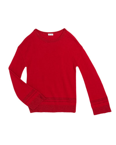 Girl's Lurex Knit Sweater, Size 7-14
