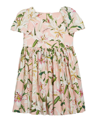 Girl's Floral Print Short-Sleeve Dress, Size 8-12