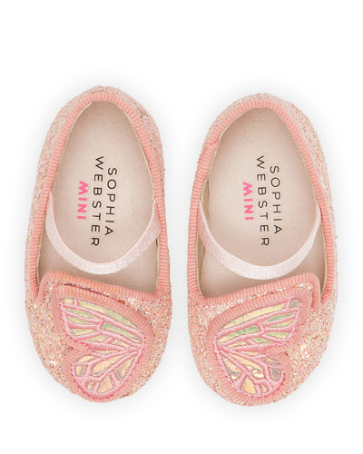 Butterfly Embroidered Chunky Glitter Flats, Baby