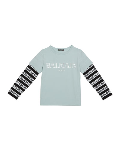 Kid's Long-Sleeve Institutional Logo Tee, Size 4-8