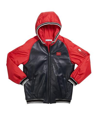 Boy's Leather Baseball Jacket, Size 8-12