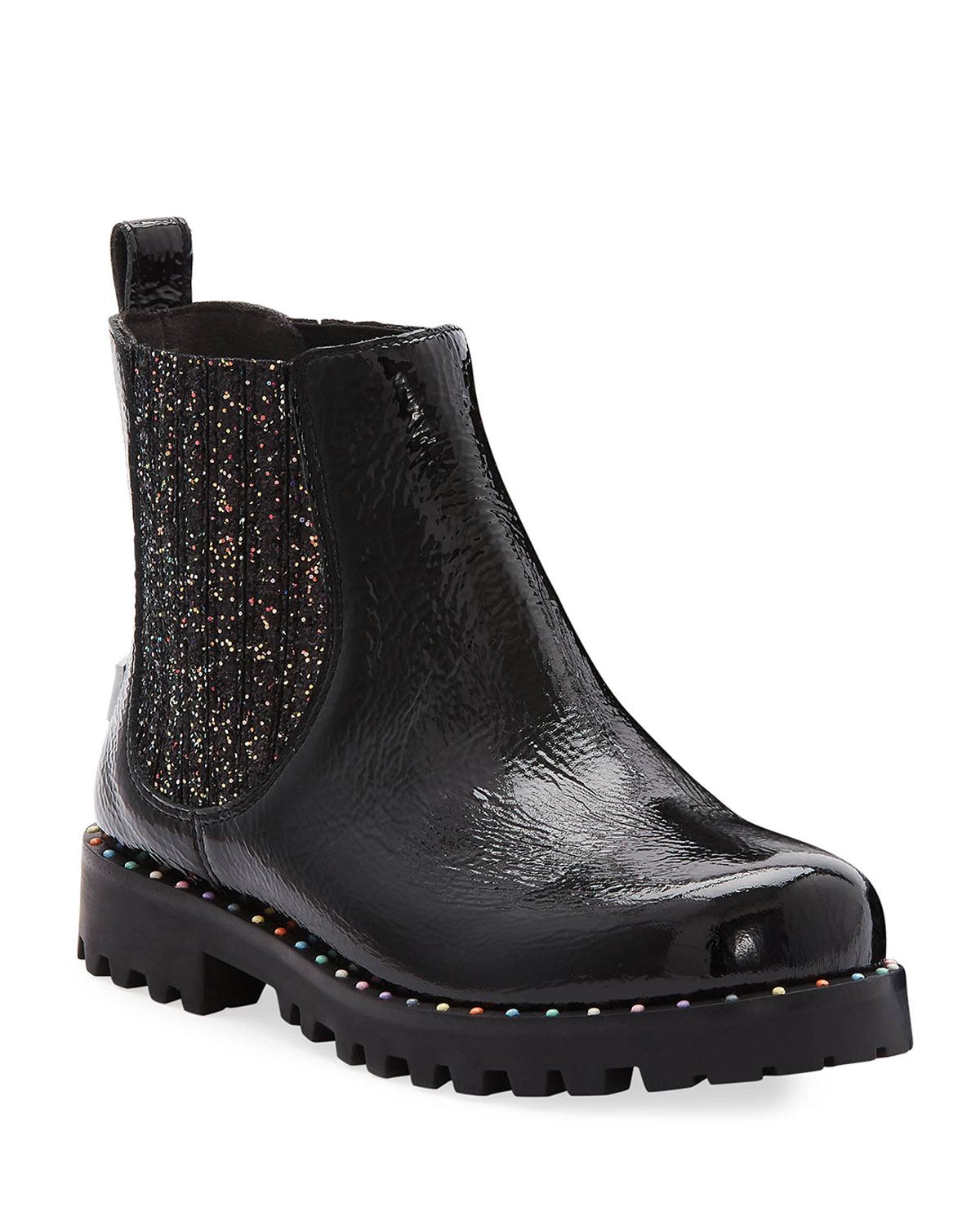Lara Rainbow Studded Patent Leather Boots, Baby/Toddler/Kids