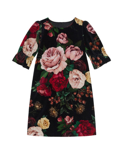 Girl's Floral Print Shift Dress, Size 8-12