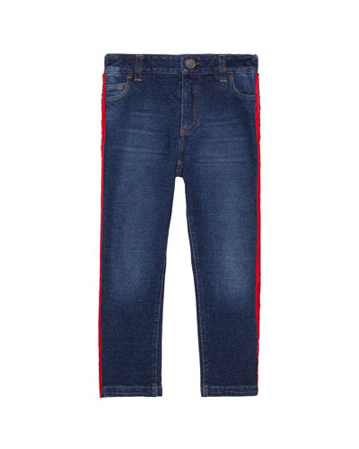Boy's Skinny Denim Jeans w/ Side Stripe, Size 8-12