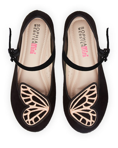 Butterfly Embroidered Suede Flats, Toddler/Kids