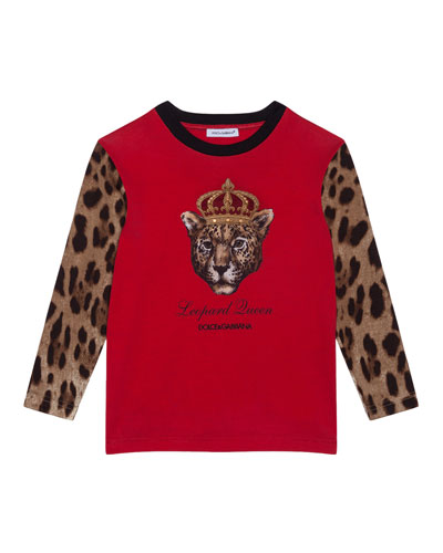 Girl's Leopard Queen Graphic Tee, Size 8-12