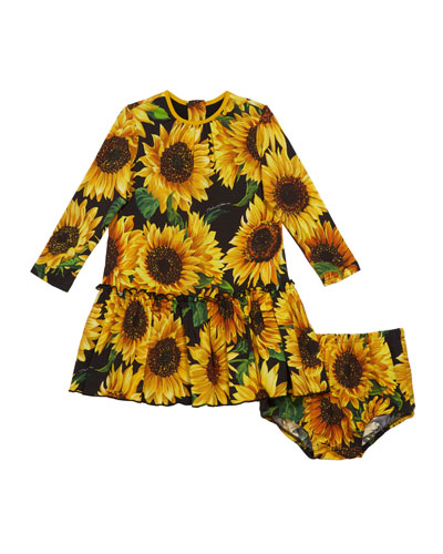 Sunflower Print Long-Sleeve Dress w/ Matching Bloomers, Size 12-30 Months
