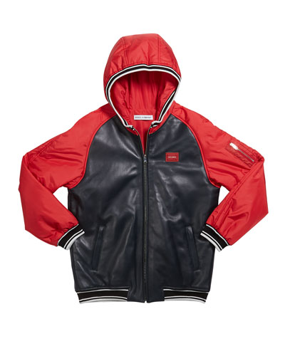 Boy's Leather Baseball Jacket, Size 4-6