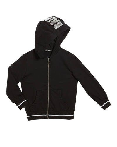 Kid's Zip-Up Hoodie w/ Metallic Logo, Size 4-8