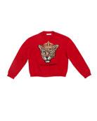 Dolce & Gabbana Girl's Leopard Queen Intarsia Sweater,