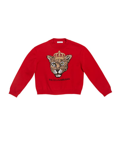 Girl's Leopard Queen Intarsia Sweater, Size 8-12