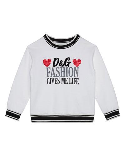 Girl's Fashion Gives Me Life Sweatshirt, Size 8-12