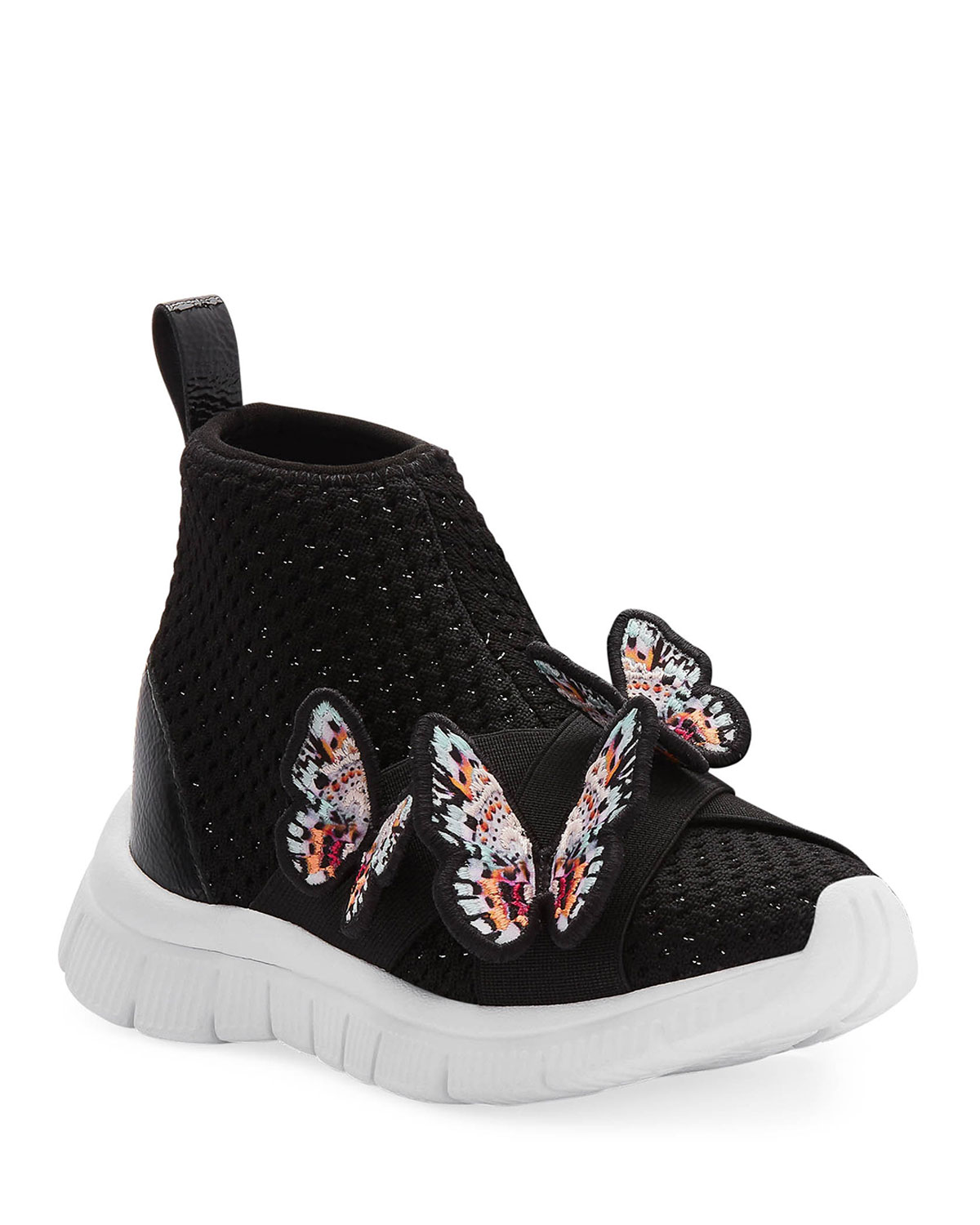 Maisy Lurex Knit Mid-Top Sneakers w/ 3D Butterfly Details, Baby/Toddler/Kids