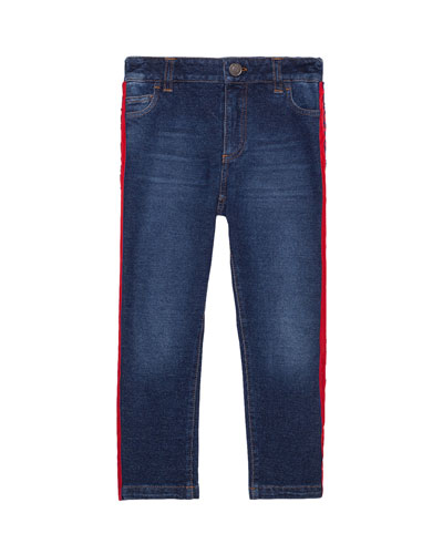 Boy's Skinny Denim Jeans w/ Side Stripe, Size 4-6
