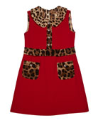 Dolce & Gabbana Girl's Sleeveless Dress w/ Animal-Print