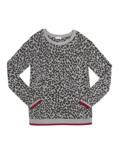 Girl's Leopard Jacquard Sweater, Size 7-14