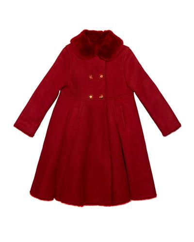 Girl's Wool Coat w/ Fur Collar, Size 8-12