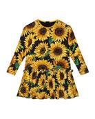 Dolce & Gabbana Girl's Long-Sleeve Sunflower Print Dress,