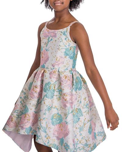 Serenity Metallic Rose Brocade Sleeveless High-Low Dress, Size 7-16