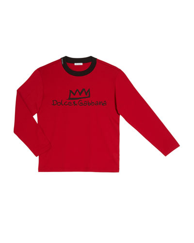 Boy's Logo Crown Long-Sleeve T-Shirt, Size 4-6