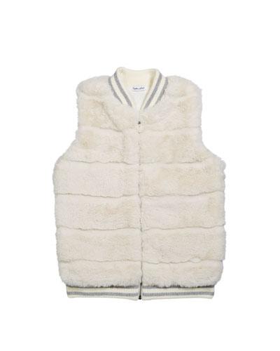 Girl's Faux Fur Vest, Size 7-14