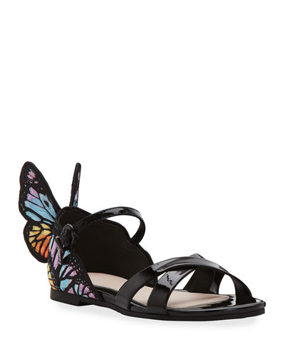 Chiara Patent Leather Embroidered Butterfly-Wing Sandals, Toddler/Kids