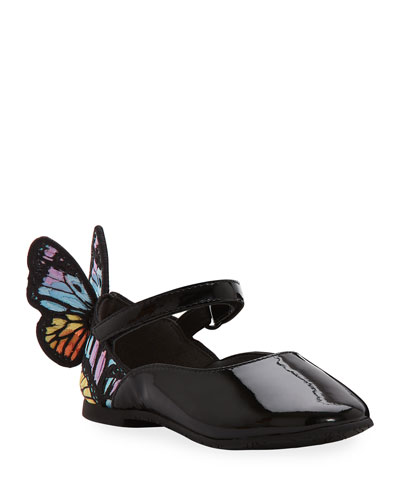 Chiara Patent Leather Embroidered Butterfly-Wing Flats, Toddler