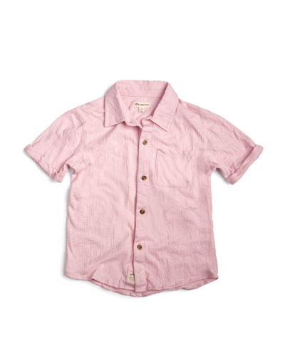 Short-Sleeve Collared Beach Shirt, Size 2-14