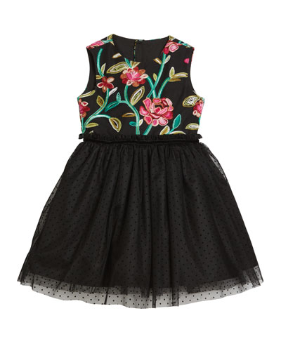 Flower Embroidered & Tulle Dress, Size 4-6X