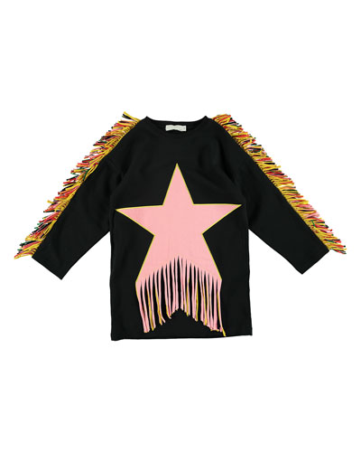 Star Patch & Fringe Sweater Dress, Size 4-14