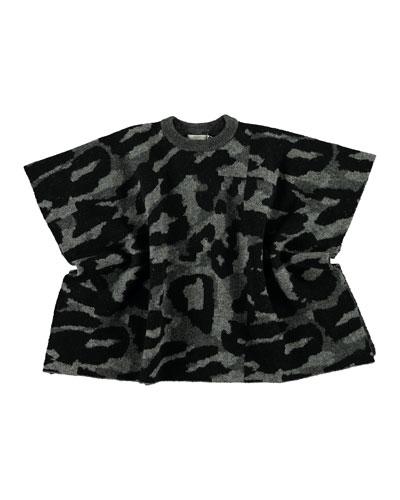 Girl's Camo Knit Cape, Size 4-14