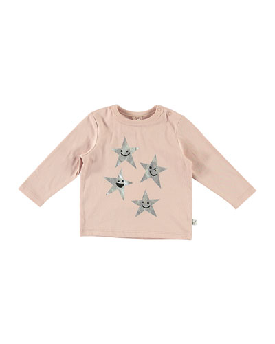 Metallic Star Print Long-Sleeve Tee, Size 6-36 Months