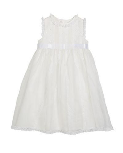 Lace-Trim Sleeveless Organza Dress, Size 2-4T
