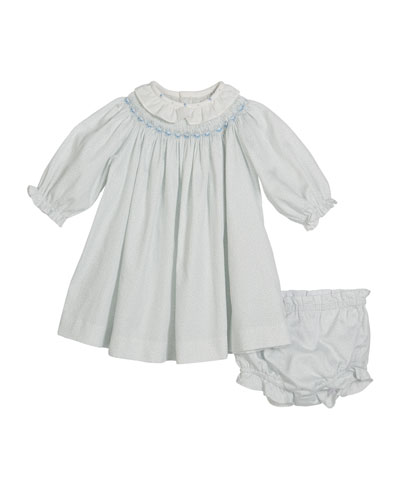 Bishop Long-Sleeve Floral Smocked Dress w/ Bloomers, Size 3-12 Months