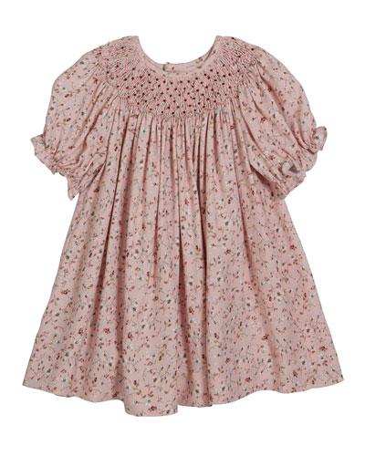 Floral Smocked Bishop Dress, Size 6-24 Months