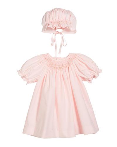 Smocked Bishop Dress w/ Matching Bonnet, Size Newborn-9 Months