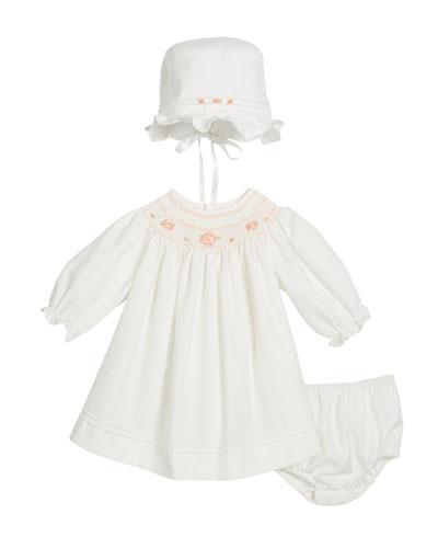 Long-Sleeve Bishop Dress w/ Bonnet & Bloomers, Size 3-12 Months