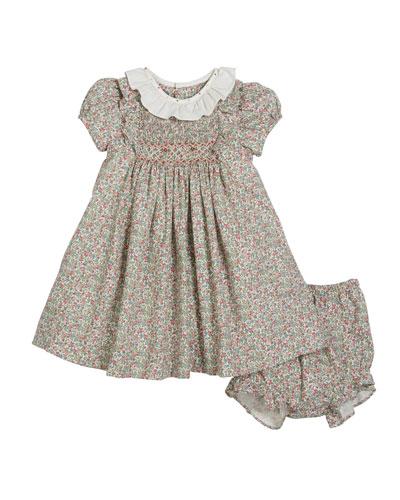 Lace Trim Short-Sleeve Dress w/ Bonnet & Bloomers, Size 12-24 Months