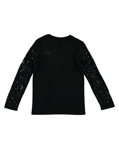 Long-Sleeve Devore Stars Tee, Size 4-14