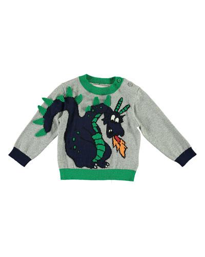 Boy's Dragon Knit Sweater, Size 6-36 Months