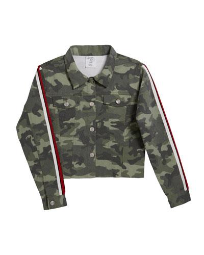 Girl's Camo Jacket w/ Metallic Taping, Size S-XL
